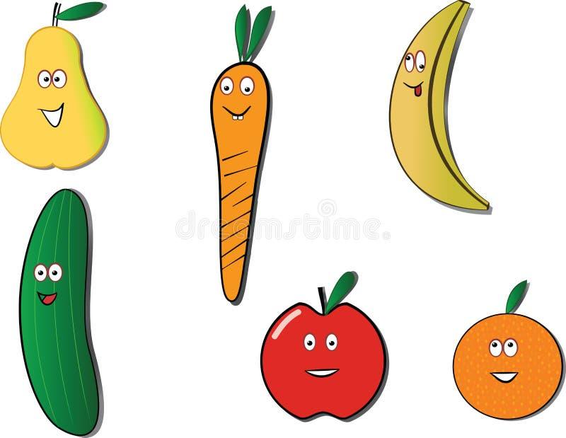 Fruits et légumes heureux images libres de droits