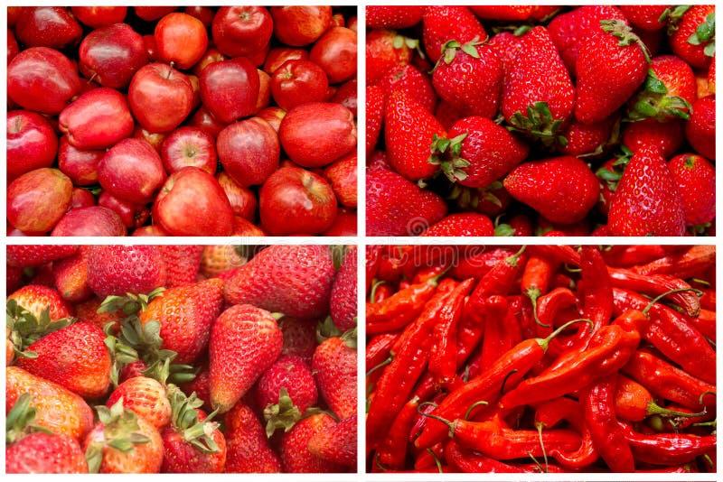 Fruits et légumes rouges image stock