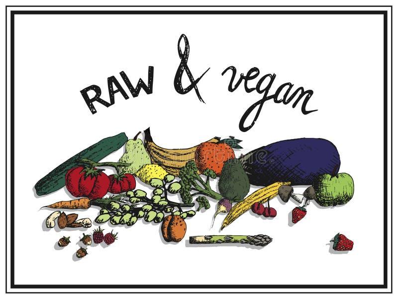 Fruits et légumes tirés par la main avec l'écriture crue et le vegan illustration de vecteur