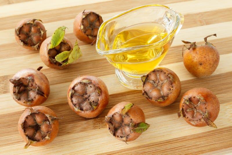 Fruits et miel communs de nèfle images stock