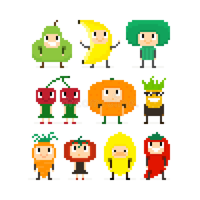 Fruits et Veges de pixel illustration stock
