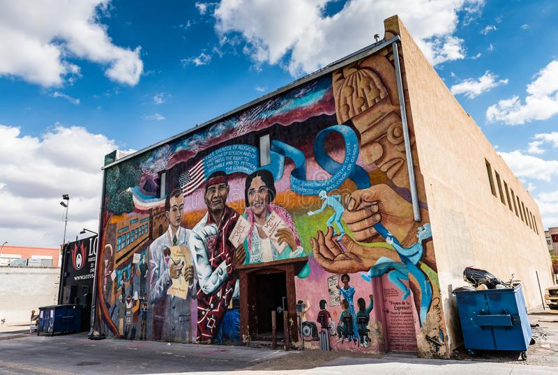 Fruits of Expression Mural - Route 66. Albuquerque, New Mexico / USA / April 1, 2016: Fruits of Expression Mural along historic Route 66 stock images