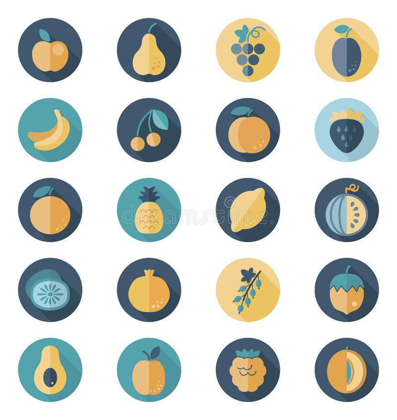 Fruits Flat Icon with Long Shadow vector illustration