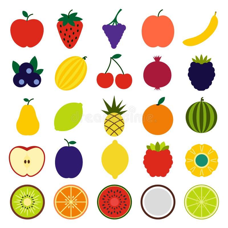 Fruits flat icons stock illustration