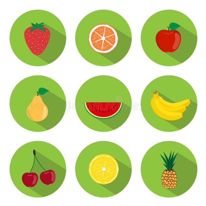 Fruits Flat Icons vector illustration