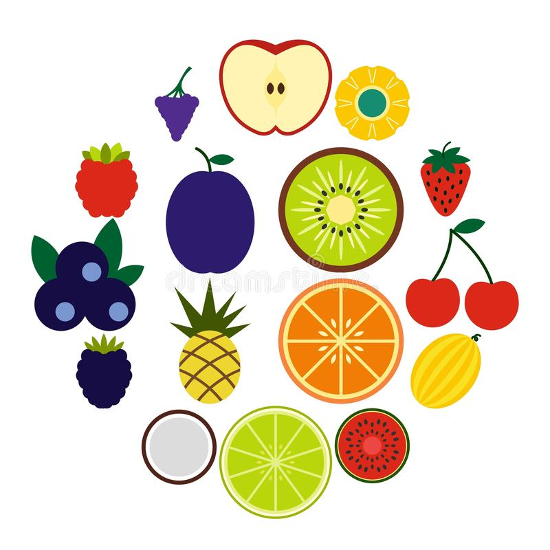 Fruits flat icons royalty free illustration