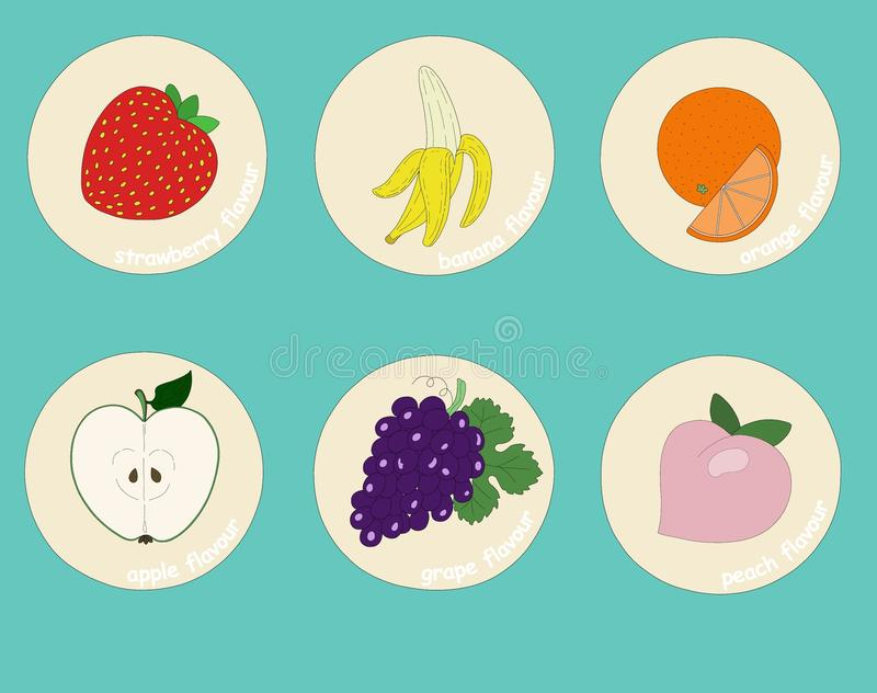 Fruits flavours stickers for drinks and desserts. N-strawberryn-bananan-orangen-applen-grapen-peachnnThe image without text is in additional file.n royalty free illustration