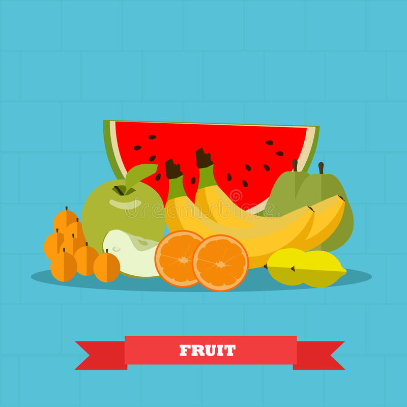 Fruits food products vector illustration in flat style design. Healthy poster stock illustration