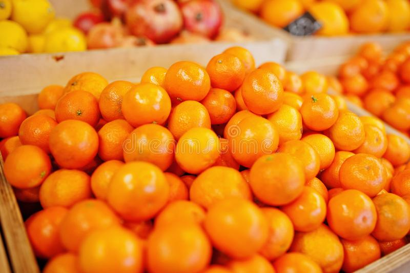 Fruits frais brillants colorés Mandarines, mandarine, clémentine sur l'étagère d'un supermarché ou épicerie photo libre de droits