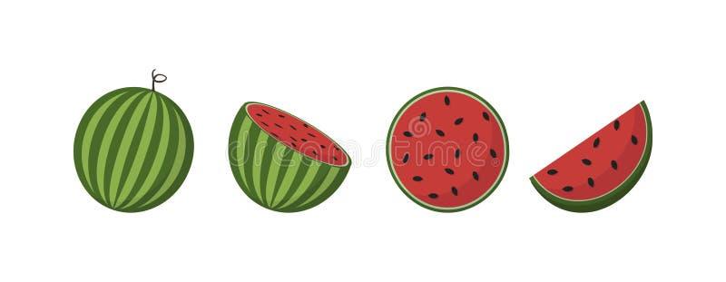 Fruits frais de pastèque, en état différent, vecteur illustration stock