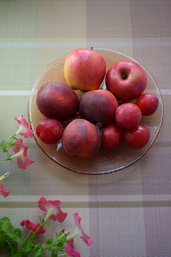Fruits frais et fleurs de pétunia sur la table Pommes, pêches, prunes photos libres de droits