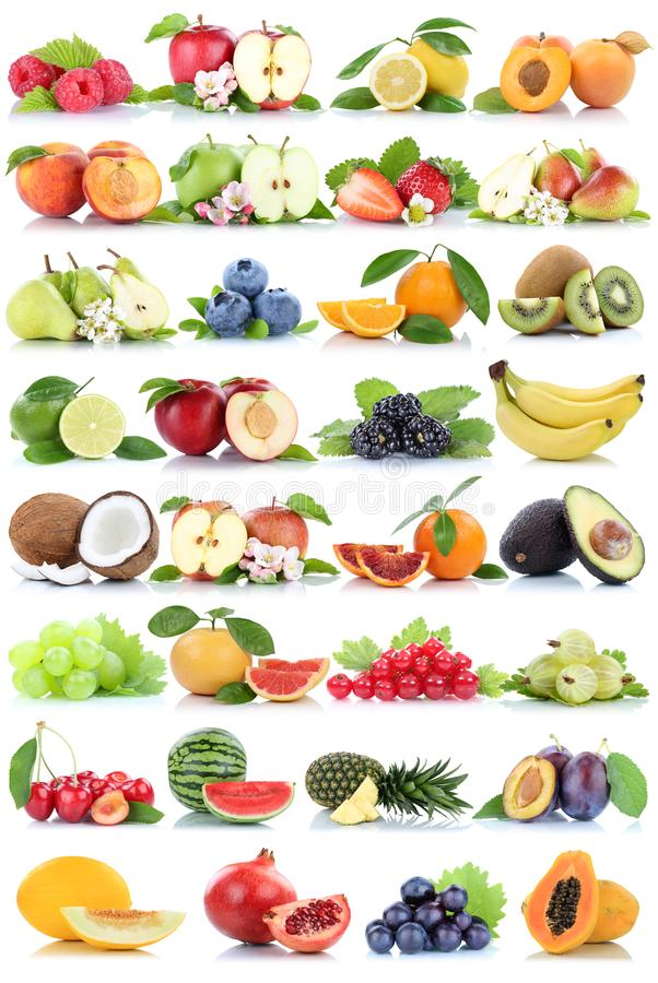Fruits fruit collection orange apple apples banana strawberry me stock photos
