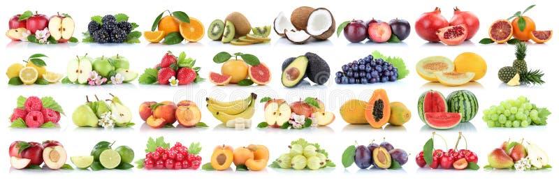 Fruits fruit collection orange apple apples melon lemon pineapple cherry organic isolated on white royalty free stock photos