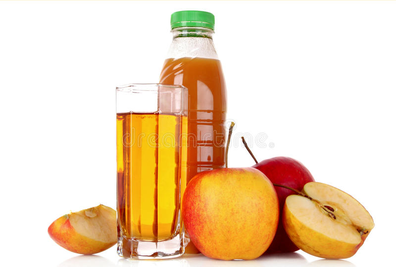 Fruits and glasses with juice isolated stock photography
