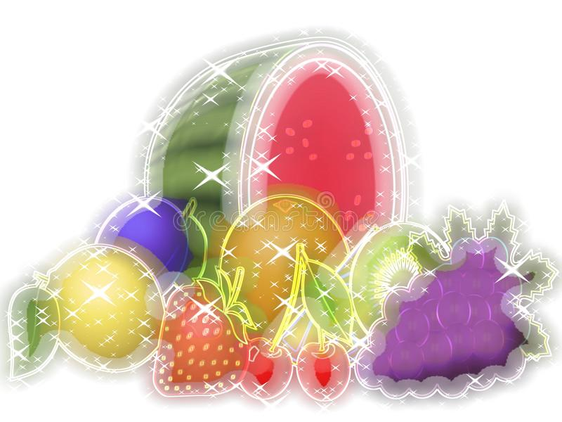Fruits glowing background. With sparkles stock illustration
