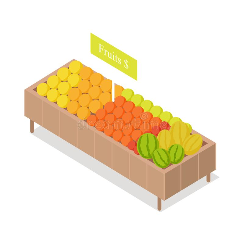 Fruits in Groceries Showcase Isometric Vector. Fruits in shop showcase isometric vector illustration. Oranges and watermelons on supermarket shelve 3d model vector illustration