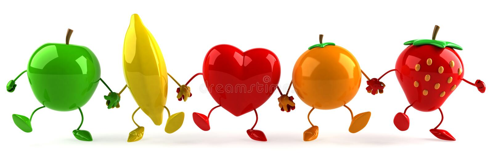 Fruits and heart stock illustration