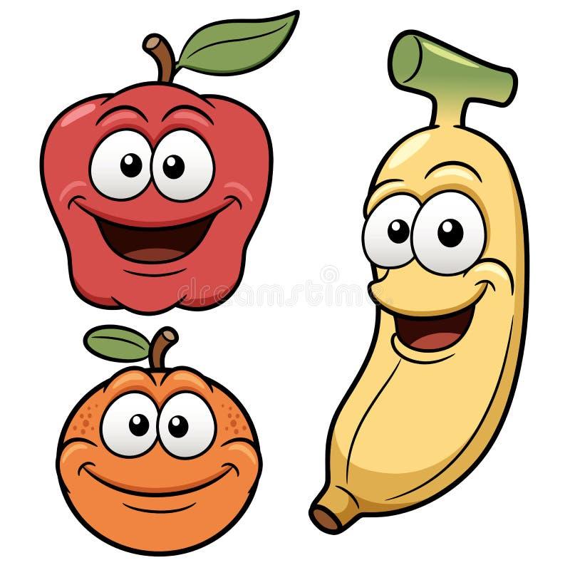 Fruits heureux de bande dessinée illustration de vecteur