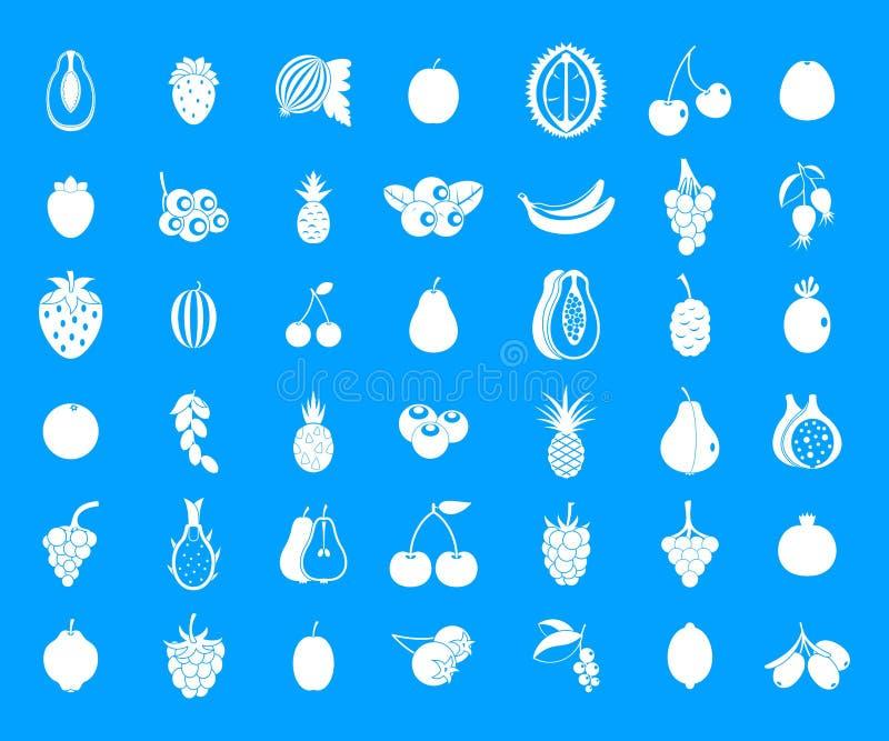 Fruits icon blue set vector stock illustration