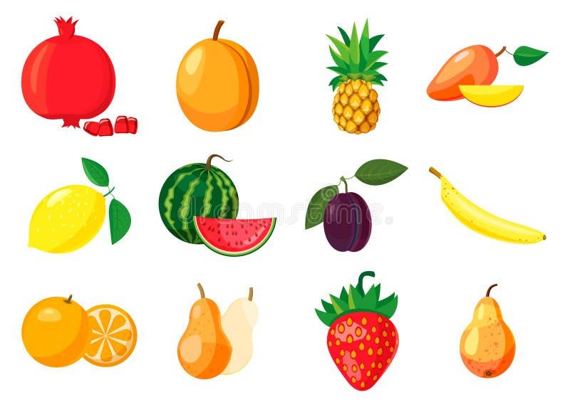 Fruits icon set, cartoon style royalty free illustration