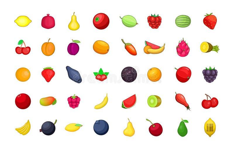 Fruits icon set, cartoon style vector illustration