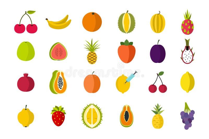 Fruits icon set, flat style stock illustration