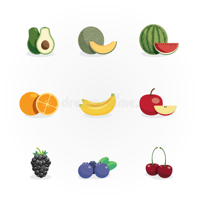 Fruits icons colour design vector royalty free illustration