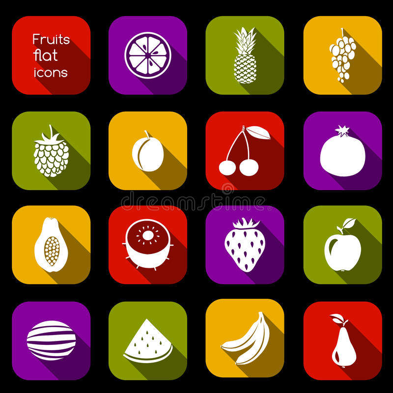 Download Fruits icons flat stock vector. Illustration of concept - 41130016