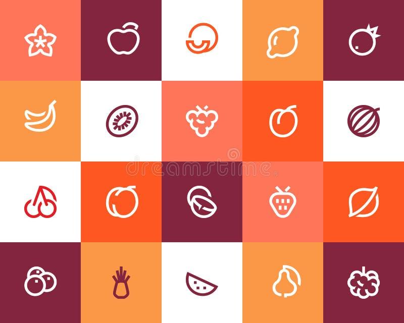 Fruits icons. Flat style. Fruits icons set. Flat style stock illustration