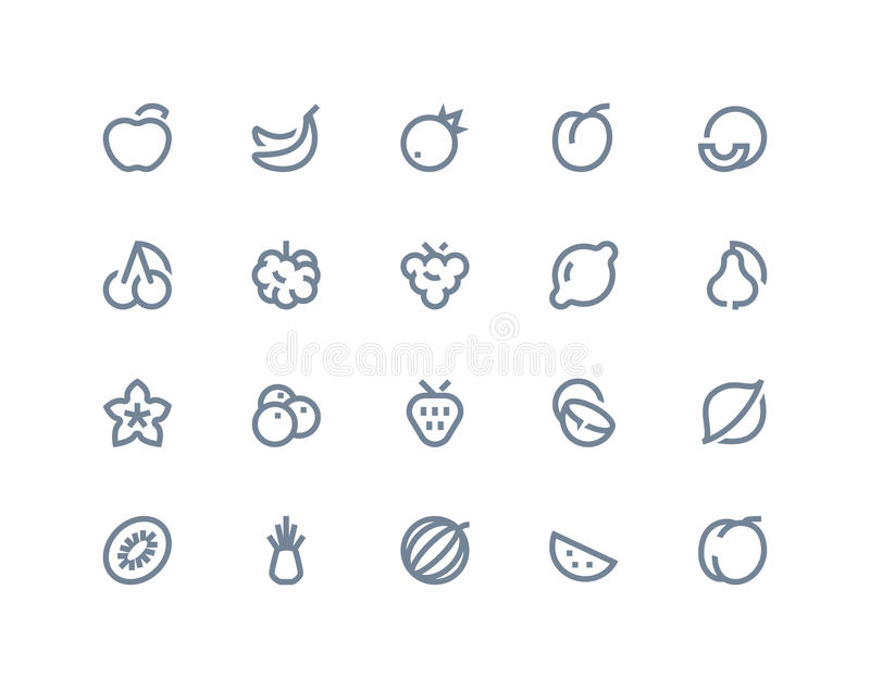 Fruits icons. Line seris. Fruits icons set . Line seris royalty free illustration