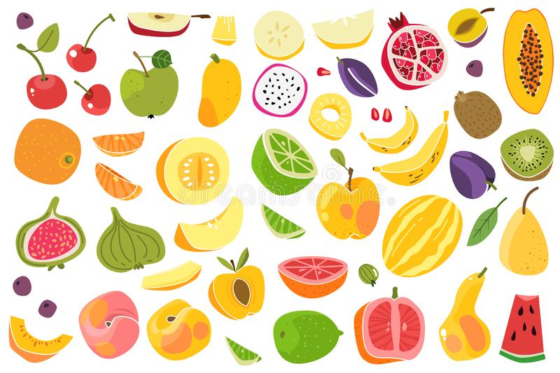 Fruits isolated. Cherry orange peach plum banana melon lime colorful fruit. Natural vegan food cartoon vector set stock illustration