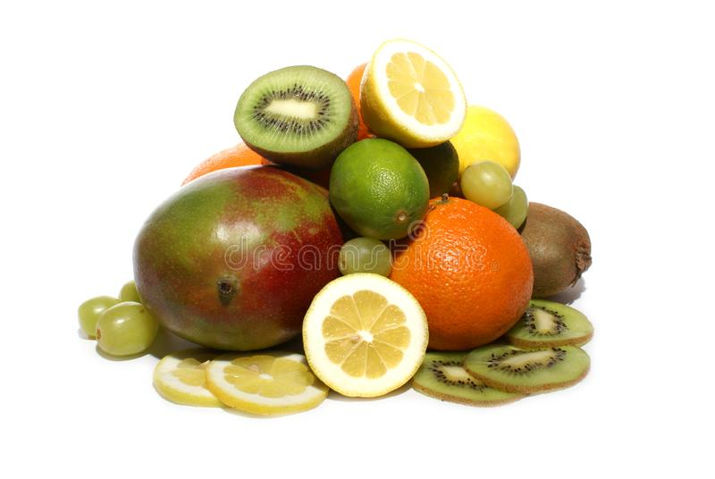 Fruits isolated on white royalty free stock photo