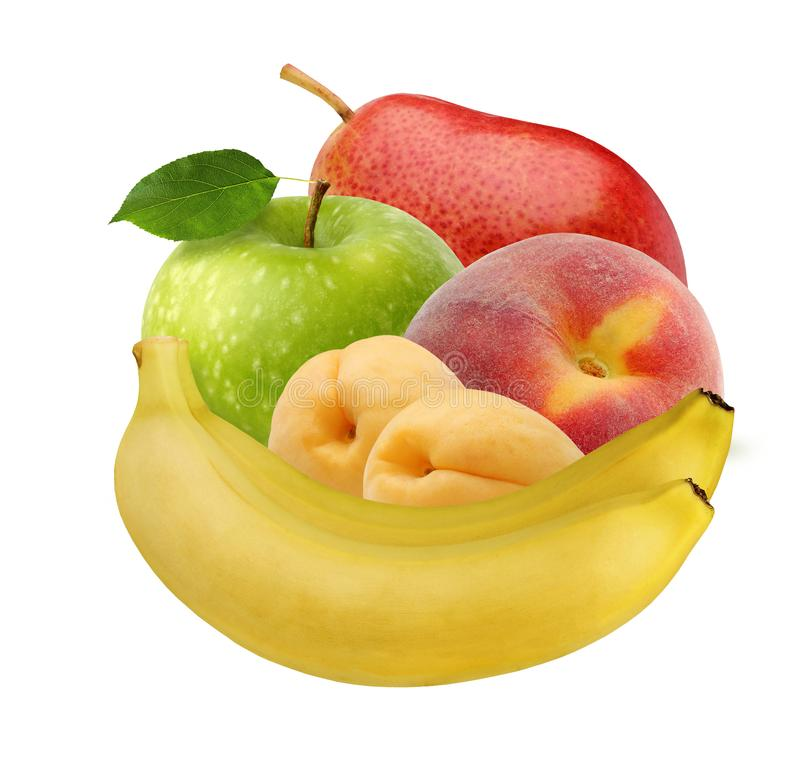 Fruits isolated on white background: banana, Apple, apricots, peach, pear royalty free stock image