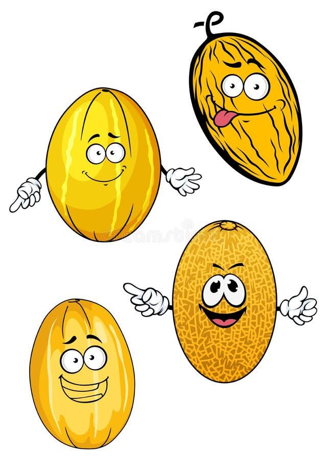 Fruits jaunes mûrs de melon de bande dessinée illustration stock