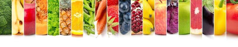 Fruits, légumes et baies panoramiques d'ensemble sur le blanc photographie stock