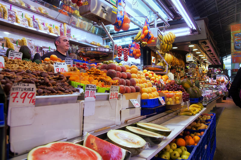 Fruits in La Boqueria in Barcelona royalty free stock photography