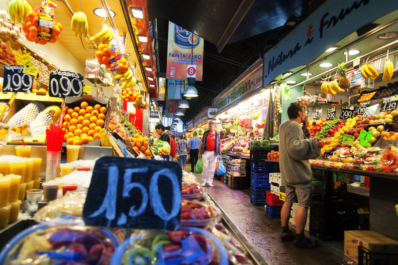 Fruits in La Boqueria in Barcelona royalty free stock photo