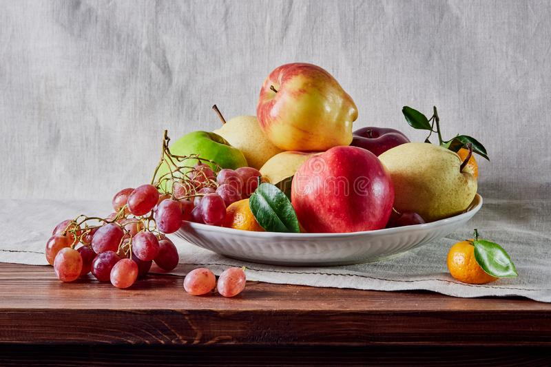 Fruit still life, fruit laid out on the table and background royalty free stock photos