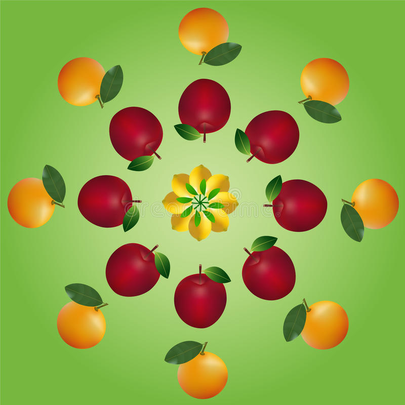 Fruits layers. First layer are lemons, second layer are apples and third layer are oranges stock illustration