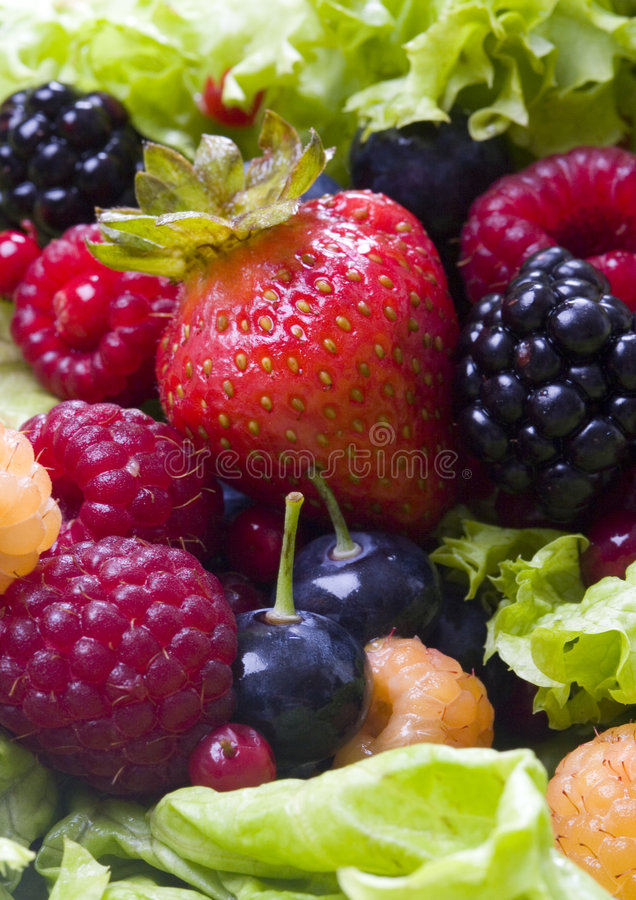 Fruits and lettuce stock photos