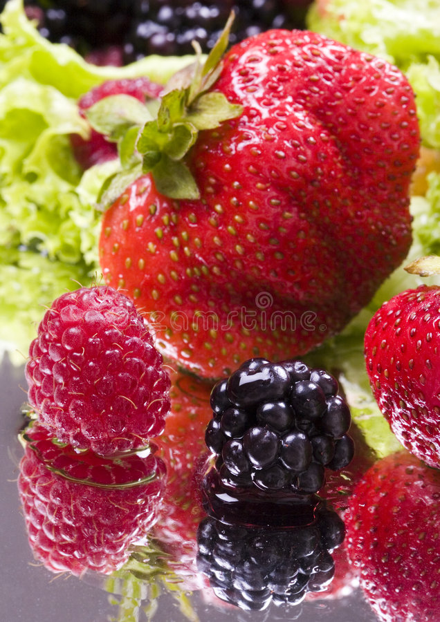 Fruits and lettuce stock photography