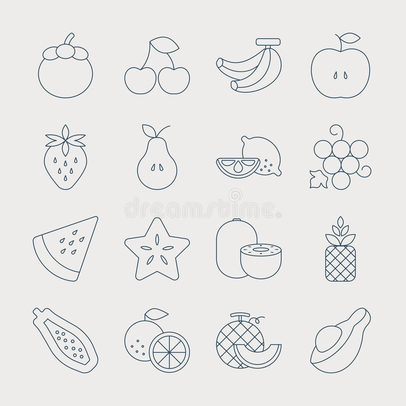 Fruits line icon set royalty free illustration