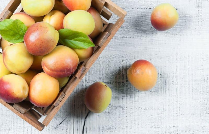 Fruits mûrs entiers frais d'abricot avec une feuille dans le panier en bois sur la table rustique blanche images stock