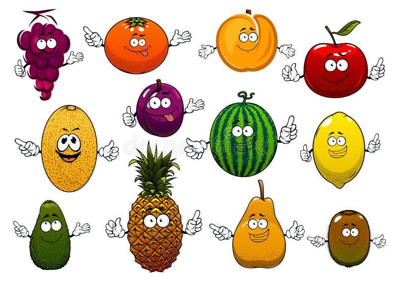 Fruits mûrs et frais heureux de bande dessinée illustration de vecteur
