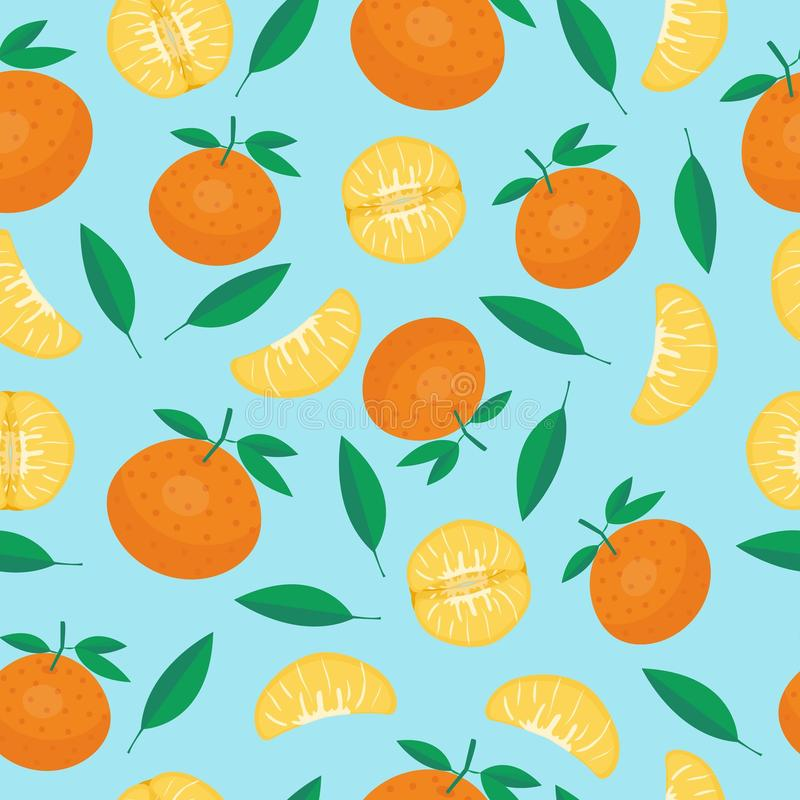 Fruits mandarin seamless patterns vector. Cartoon fresh fruits in flat style. mandarin seamless pattern. Fruits seamless patterns food summer design wallpaper royalty free illustration