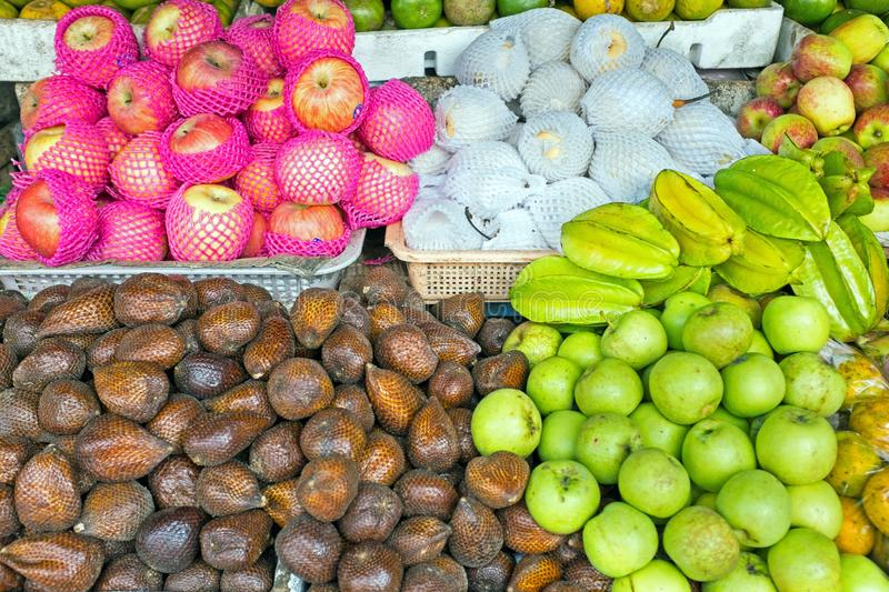 Fruits on the market in Java Indonesia stock image