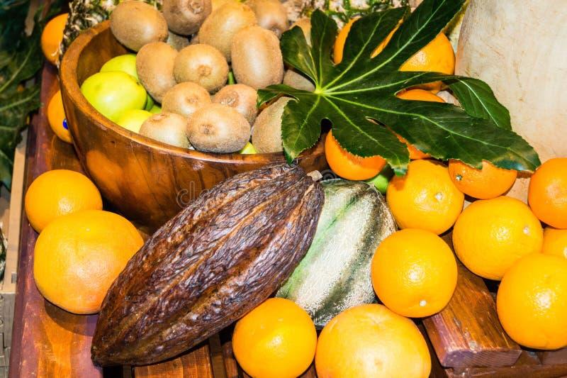Fruits on a market stock photos