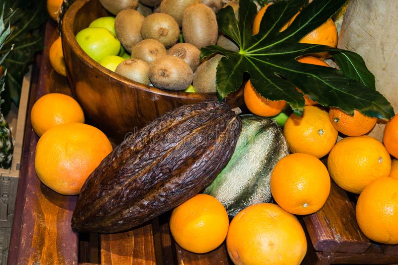 Fruits on a market stock images