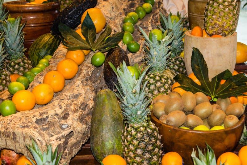 Fruits on a market royalty free stock photos