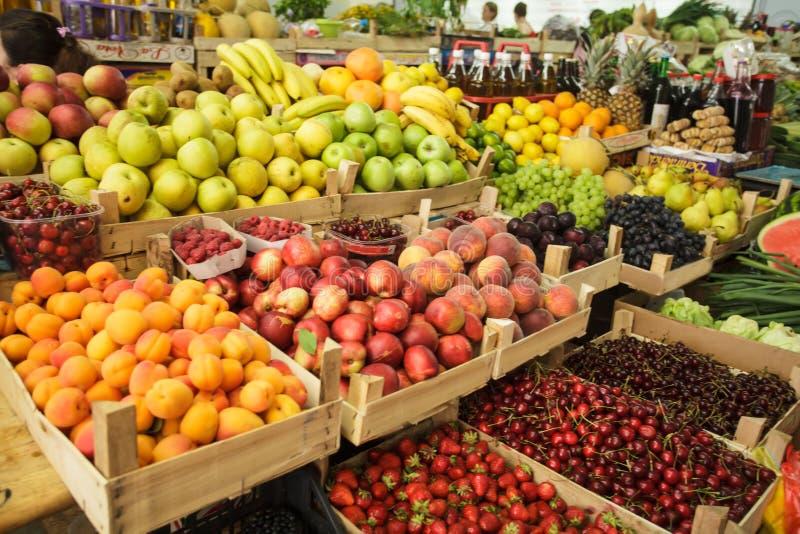 Fruits on the market stock photos